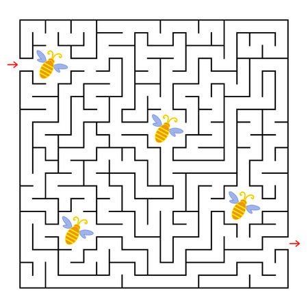 A square labyrinth. Collect all the bees and find a way out of the maze. Simple flat isolated vector illustration