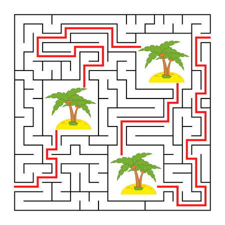 A square labyrinth. Collect all the palms and find a way out of the maze. Simple flat isolated vector illustration Vettoriali