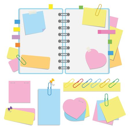 An open organizer with clean sheets on a spiral and with bookmarks. A set of stickers and paper for notes. Colorful flat vector illustration isolated on white background with space for text or image.