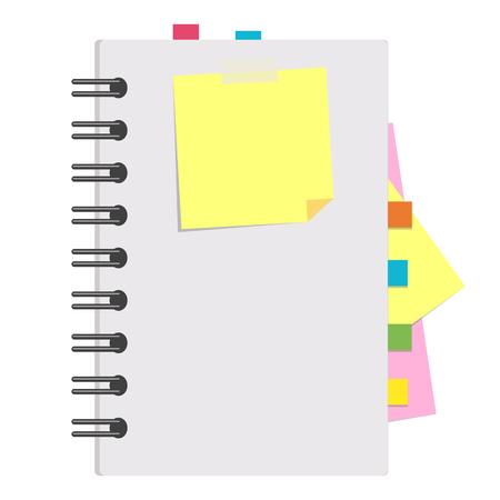 Aprire il blocco note con fogli puliti su una spirale con segnalibri tra le pagine. Illustrazione vettoriale piatto colorato isolato su sfondo bianco. Con spazio per testo o immagine