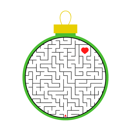 Labyrinth Christmas tree toy. Simple flat vector illustration isolated on white background Stock Illustratie