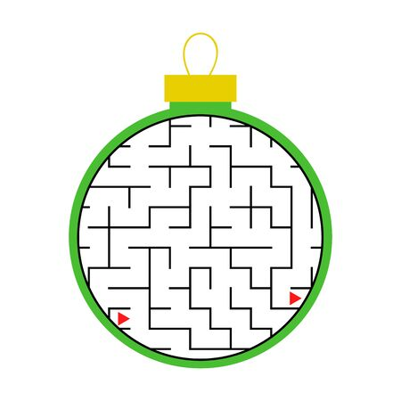 Labyrinth, Christmas tree toy. Simple flat vector illustration, isolated on white background.
