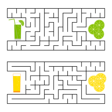 A square labyrinth. Find the way from juice to fruit. Simple flat isolated vector illustration Illustration