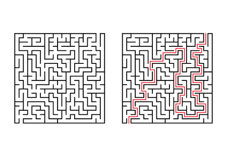 Abstract square maze. Simple flat vector illustration isolated on white background with the answer. Çizim