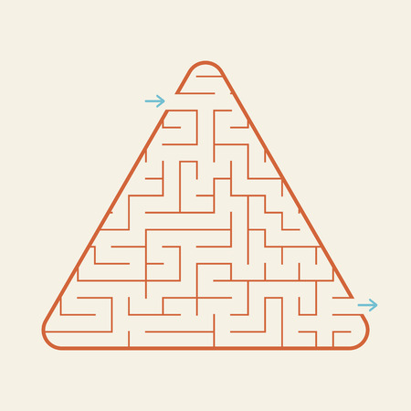 Triangular labyrinth, a simple flat vector illustration isolated on a pink background.