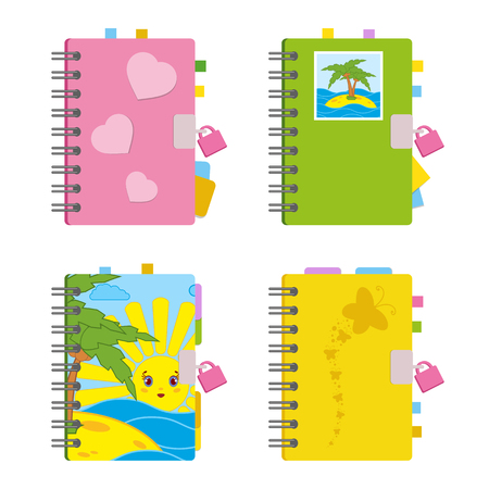 Closed notebook set Ilustrace