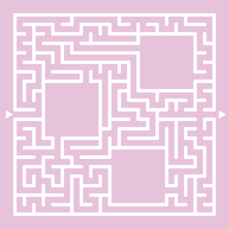 A square maze of white on a pink background.