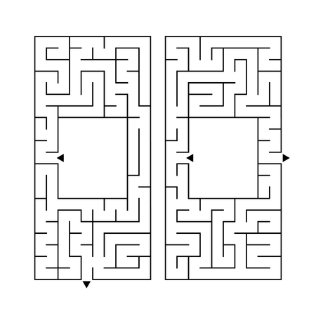 A set of two rectangular labyrinths. Simple flat vector illustration isolated on white background. With a place for your image