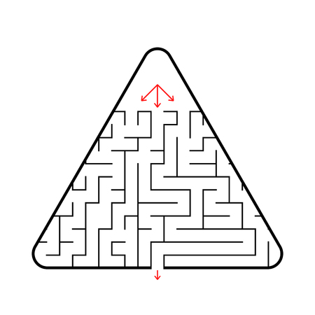 Triangular maze with three paths, find the right way out. A simple flat vector illustration isolated on white background with a place for your image. Illustration