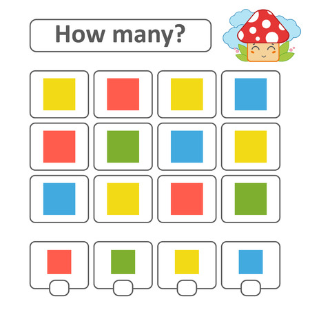 Counting game for preschool children. Count as many squares in the picture and write down the result. With a place for answers. Simple flat isolated vector illustration 일러스트