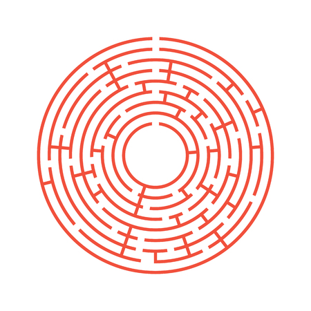 Abstract round maze. An educational game for children and adults. Simple flat vector illustration isolated on white background