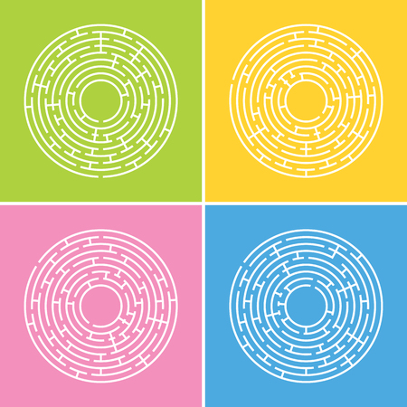 Abstract round maze. A set of four labyrinths.