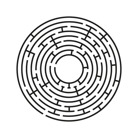 Abstract round maze. An educational game for children and adults. Simple flat vector illustration isolated on white background.