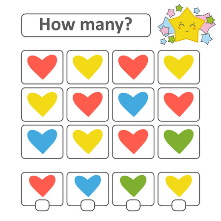 Counting game for preschool. Count as many hearts in the picture and write down the result. With a place for answers. Simple flat isolated vector illustration