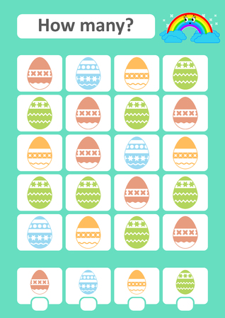 Counting game for preschool children. The study of mathematics. How many items in the picture. Colored Easter eggs. With a place for answers. Simple flat isolated vector illustration Illustration