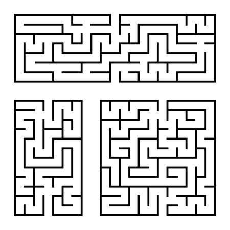 A set of square and rectangular labyrinths with entrance and exit. Simple flat vector illustration isolated on white background