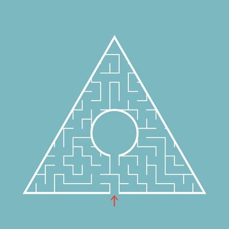 Triangular labyrinth with an input and an exit. Ilustração