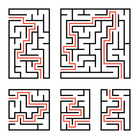 A set of square and rectangular labyrinths with entrance and exit. Simple flat vector illustration isolated on white background. With the answer