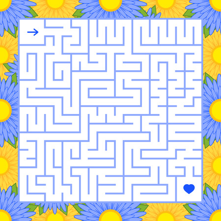 Abstract square isolated labyrinth. Blue color on a white background with a floral frame. An interesting game for children and adults. Simple flat vector illustration.