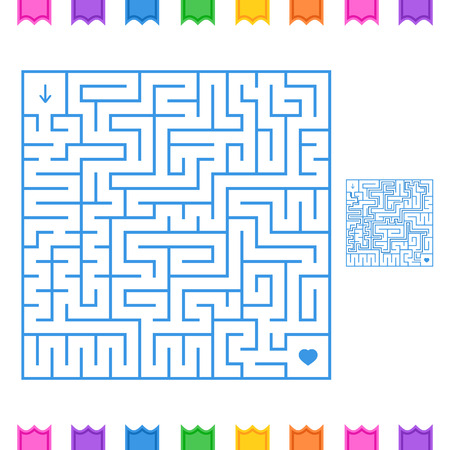 Abstract colored square maze. An interesting game for children and teenagers. Simple flat vector illustration isolated on white background. With the answer.
