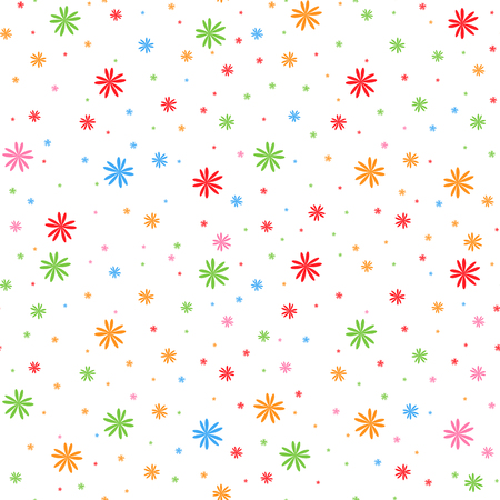 Colorful seamless pattern of falling snowflakes on a white background. Simple flat vector illustration. For the design of paper wallpaper, fabric, wrapping paper, covers, web sites.