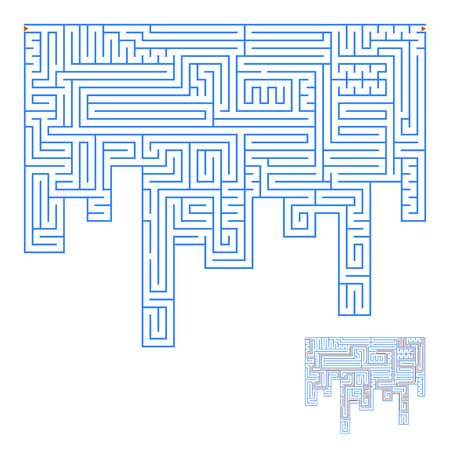 Abstract complex labyrinth. An interesting game for children and adults. Simple flat vector illustration isolated on white background. With the answer.