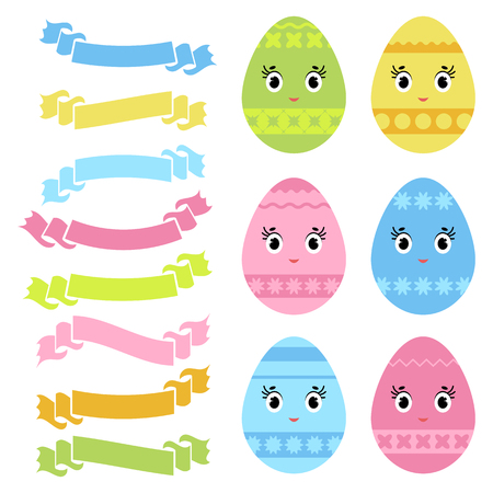 Set of colored isolated sweet Easter eggs and ribbon banners on white background. With an abstract pattern. Simple flat vector illustration. Suitable for decoration of postcards, advertising, magazines, websites. Illustration