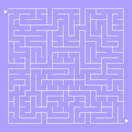 Abstract complex square isolated labyrinth. White on a purple background. An interesting game for children and adults. Simple flat vector illustration.