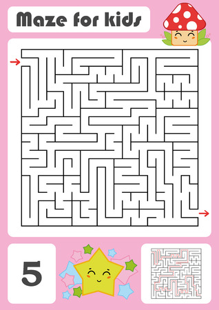 A square labyrinth. Developmental game for children. Vector illustration isolated on white background. Color design with cute cartoons.
