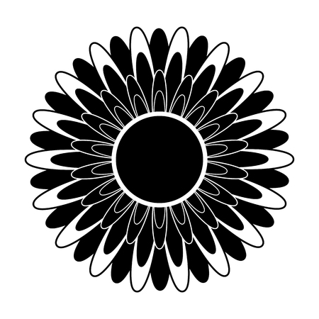 Black and white silhouette of a flower in an abstract style