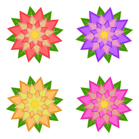Set of red, purple, yellow, pink flowers with green leaves, isolated on white background. Four options. Suitable for design.