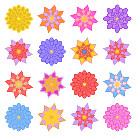 A set of beautiful colorful flowers. Isolated on white background. Sixteen variants. Suitable for design. Ilustrace