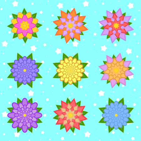 A set of beautiful colorful flowers on a blue starry background. Nine options. Suitable for design.