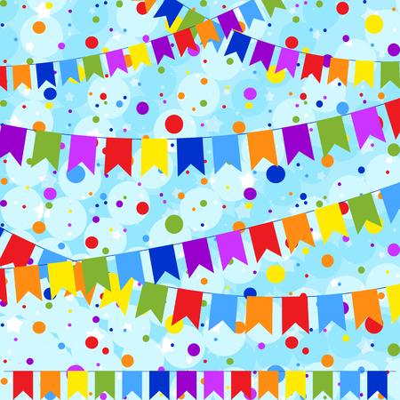 Satz von sechs flachen farbigen Girlanden, die in Form von Flaggen an einem Seil isoliert werden. Auf dem Hintergrund der bunten Konfetti. Geeignet für Design.