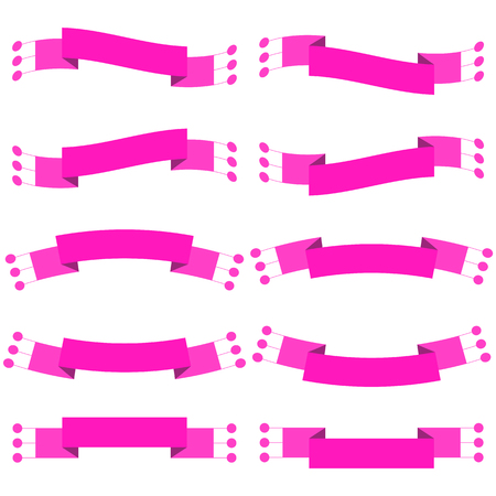 Set of 10 flat pink isolated ribbon banners. Suitable for design.