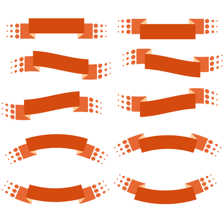 Set of 10 flat red isolated banner ribbons. Suitable for design. Illustration