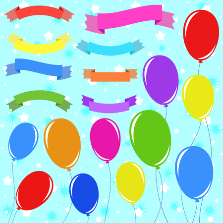 A set of 8 flat colored insulated banner ribbons and 11 balloons on ropes. On a blue background with stars. Suitable for design. Illustration