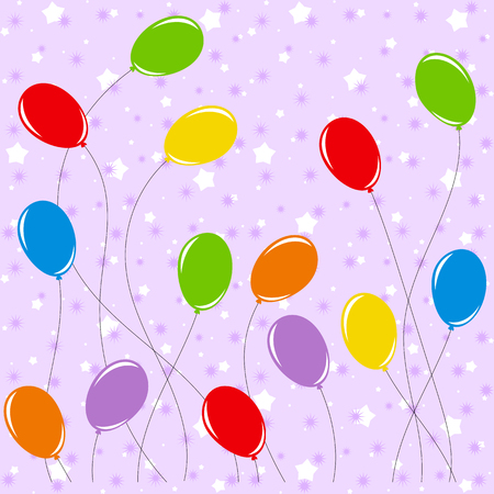Set of flat colored isolated balloons on ropes.