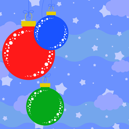 Set of flat colored isolated Christmas tree balls. Illustration