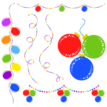 Set of flat colored isolated Christmas toys on a rope. Decoration balls are red, blue, green in a bunch. Multicolored garlands.