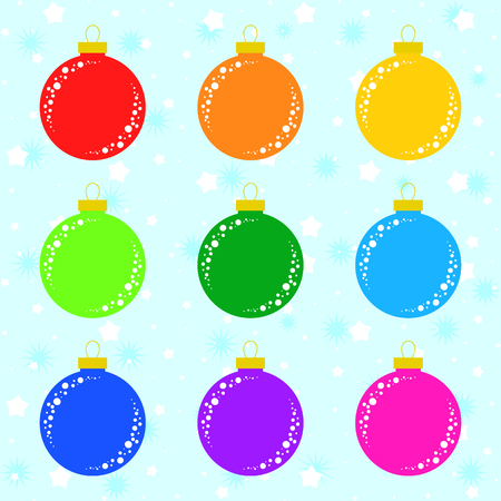 Set of flat colored isolated Christmas tree toys. Decoration balls are red, orange, yellow, green, blue, purple, pink.