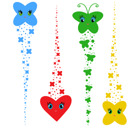 Set of colored cartoons. A flock of abstract flat butterflies, hearts, stars flying one after another.