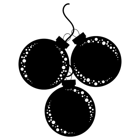 Flat silhouettes of black and white isolated Christmas-tree toys. Decoration glass balls in a bunch.