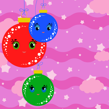 Set of flat colored isolated Christmas tree balls. Lovely cartoon for decorating postcards and design.