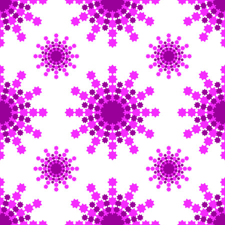 Seamless pattern of pink-burgundy snowflakes on a white background.
