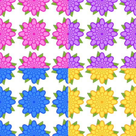 Set of seamless patterns of pink, purple, blue, yellow flowers with green leaves on a white background.