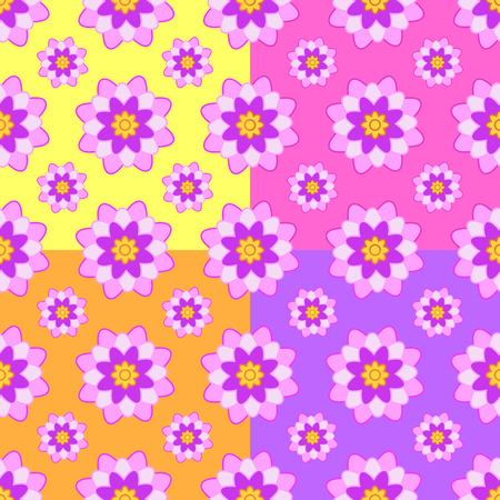 Set of seamless patterns of pink flowers on a yellow, pink, orange and purple background.
