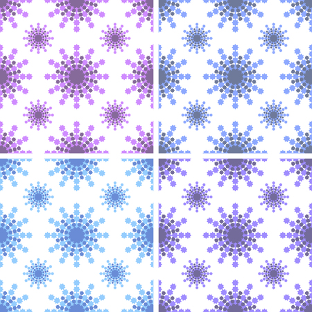 Set of seamless patterns of pink, light blue, blue, purple snowflakes on white background.