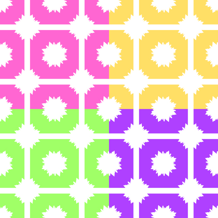 Set of abstract seamless patterns of pink, yellow, green, purple on a white background. Иллюстрация