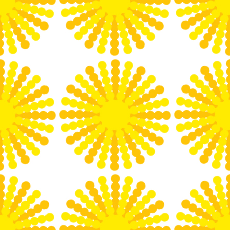 A seamless pattern of suns with yellow-orange rays on a white background.